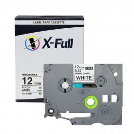 FITA COMPATÍVEL PARA ROTULADOR BROTHER TZc-FX231 12MM FLEXÍVEL PRETO SOBRE BRANCO - XFULL