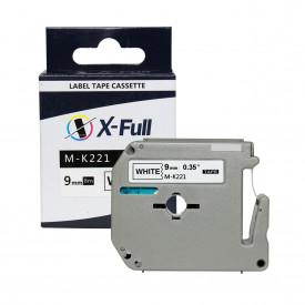 FITA COMPATÍVEL PARA ROTULADOR BROTHER M-K221 9MM PRETO SOBRE BRANCO - XFULL